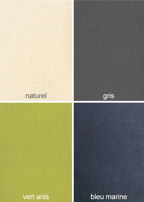 Les différents coloris disponibles : écru, gris, vert anis, bleu marine.